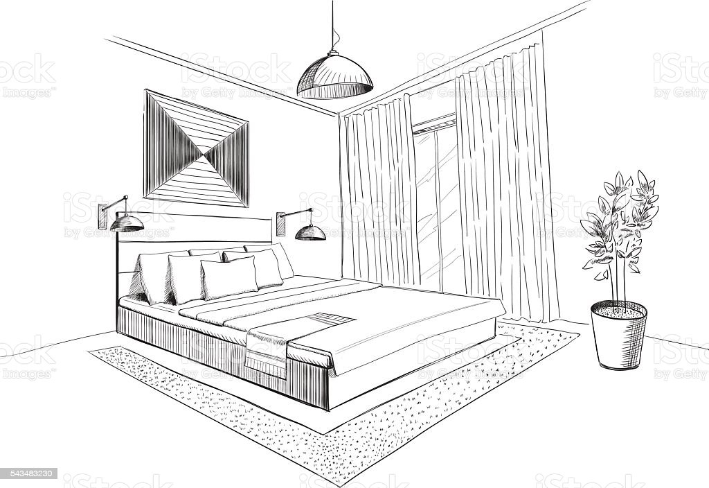 schlafzimmer einrichtung skizze vektor illustration 543483230 istock. Black Bedroom Furniture Sets. Home Design Ideas