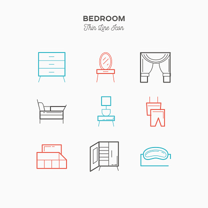 Bedroom, interior, thin line color icons set
