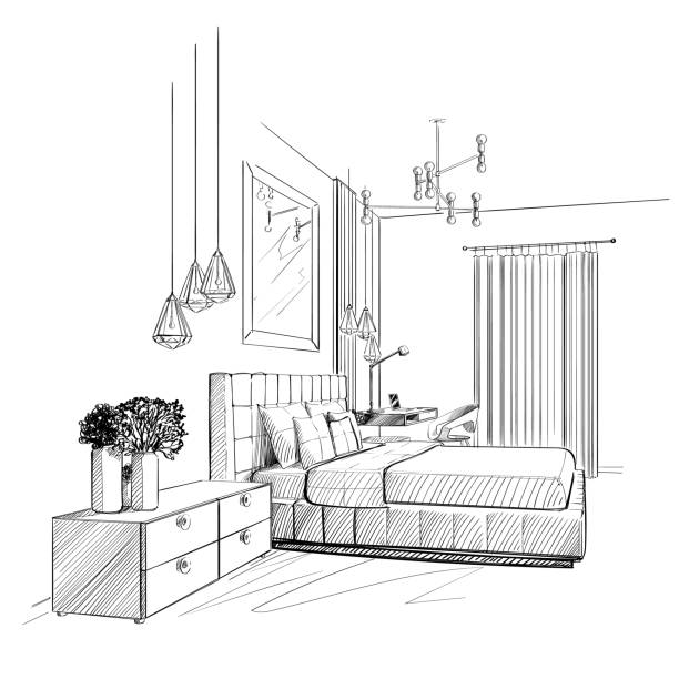 illustrazioni stock, clip art, cartoni animati e icone di tendenza di bedroom interior vector sketch. - bedroom