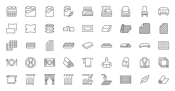 Bedroom linen flat line icons set. Double bed, cushion, blanket, sheets, pillow, mattress topper, curtain, bathrobe vector illustrations. Outline signs of house textile, editable stroke