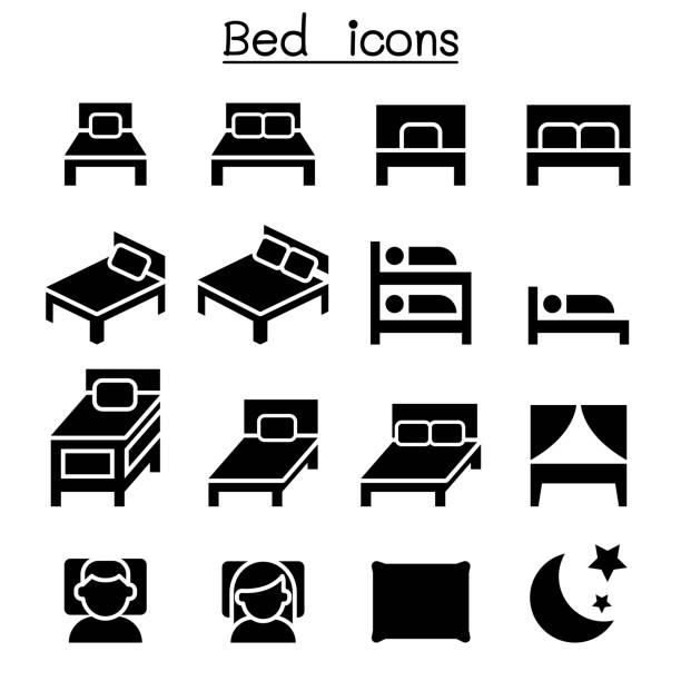 Bedroom & Mattress icon set Bedroom & Mattress icon set sheltering stock illustrations