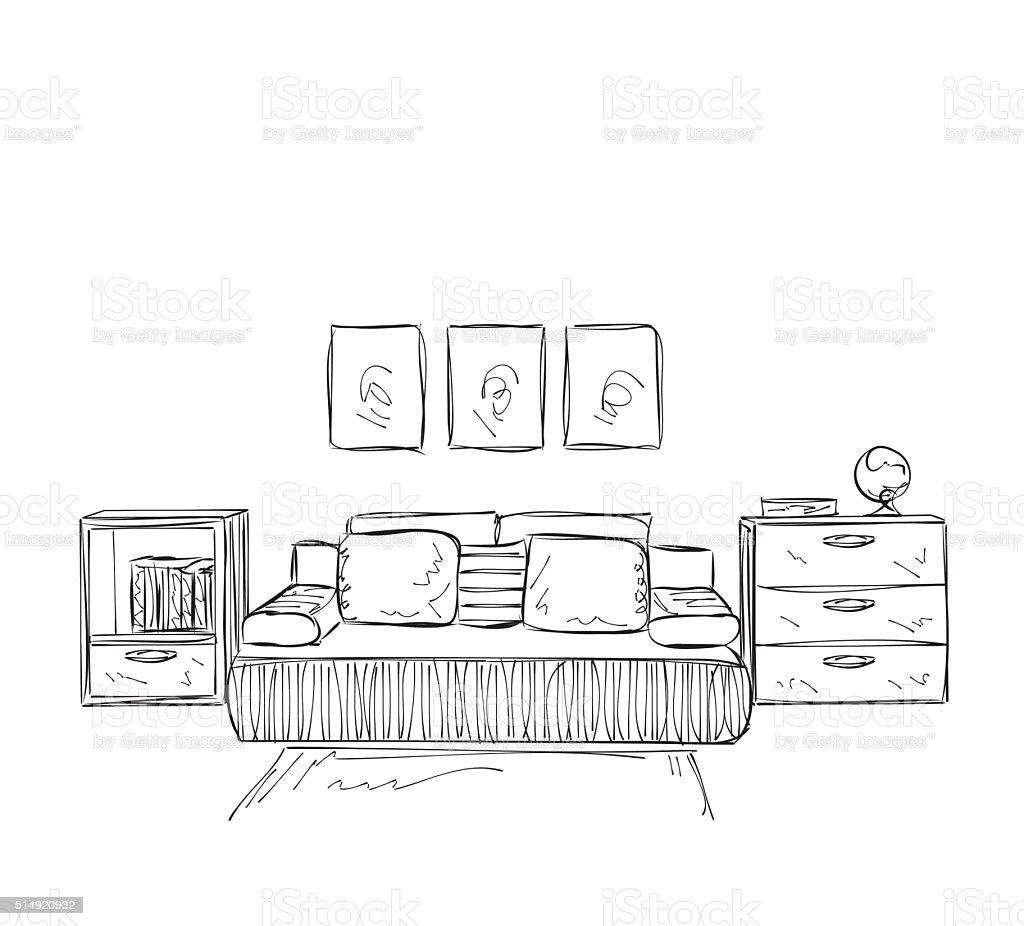 Schlafzimmer Mit Moderner Einrichtung Zeichnen Stock Vektor Art Und