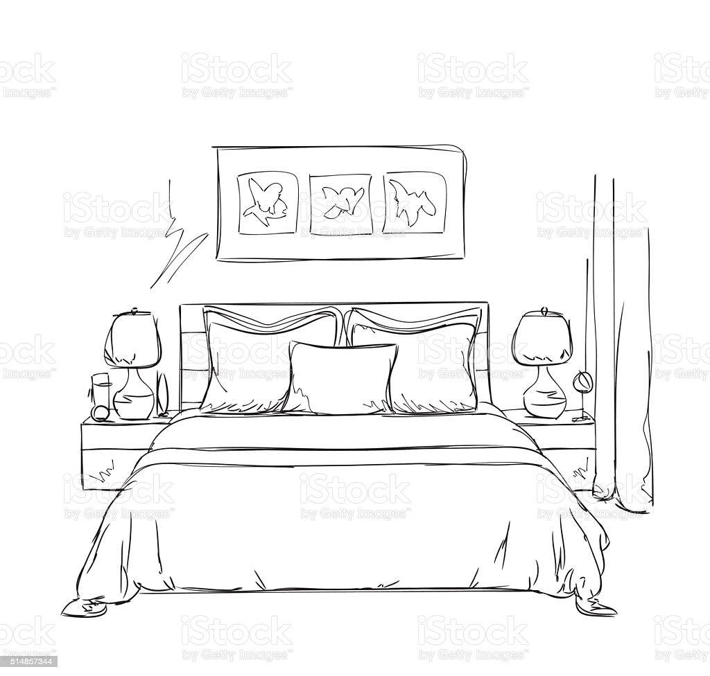 Quarto moderno interior desenho arte vetorial de stock e for Cuarto para colorear