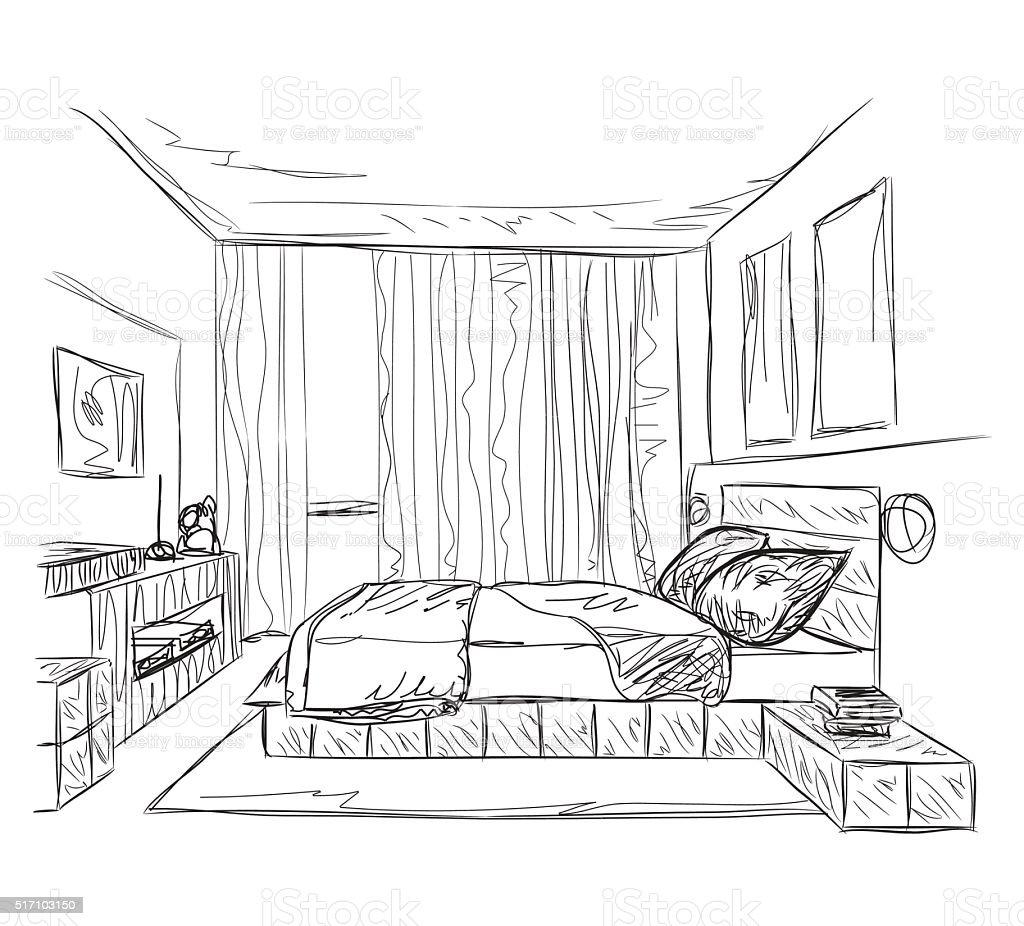 ベッドルームのモダンなインテリアスケッチ イラストレーションのベクターアート素材や画像を多数ご用意 Istock