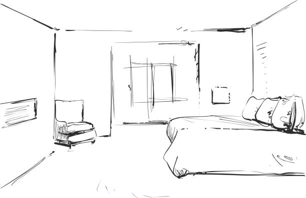 Bedroom modern interior vector drawing isolated on white background Bedroom modern interior vector drawing isolated on white background. Furniture sketch bedroom drawings stock illustrations