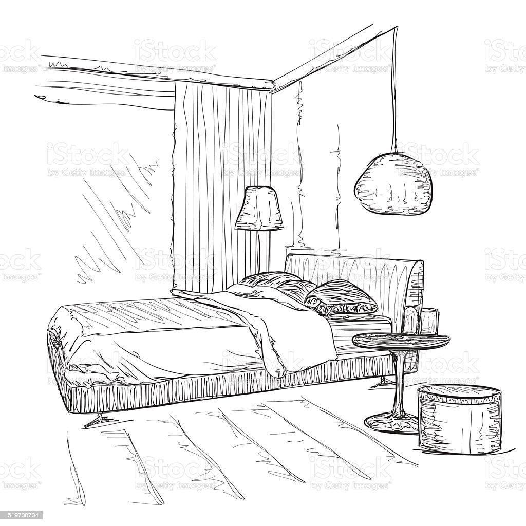 Schlafzimmer Moderne Innenraum Vektorzeichnung Skizze Stock Vektor