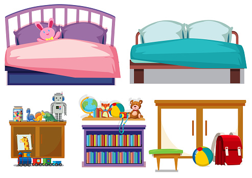 Bedroom objects white background