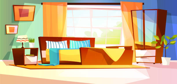 Bedroom room interior vector illustration Bedroom interior vector illustration of furniture on background. Cartoon design of modern or retro room with bed, drawer with mirror and shelf, plants and lamp on carpet and window with curtains bedroom backgrounds stock illustrations