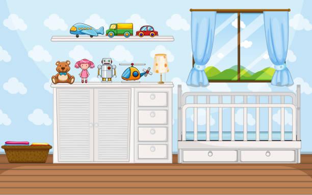 schlafzimmer-szene mit weißen babycrip - schrankkorb stock-grafiken, -clipart, -cartoons und -symbole