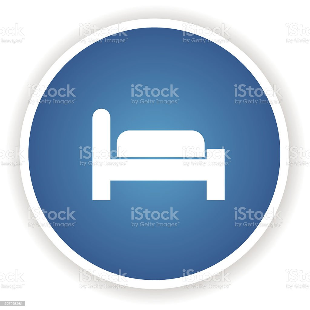 Bedroom symbol,Blue button,vector royalty-free stock vector art