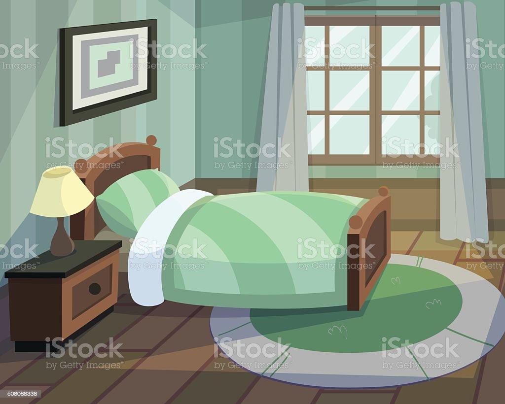 Schlafzimmer mit – Vektorgrafik