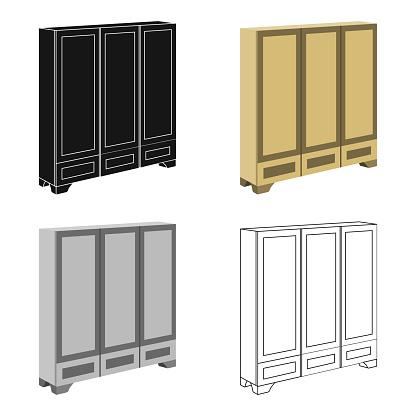 Bedroom wardrobe for clothing.Bedroom furniture for clothes.Bedroom furniture single icon in cartoon style vector symbol stock illustration web