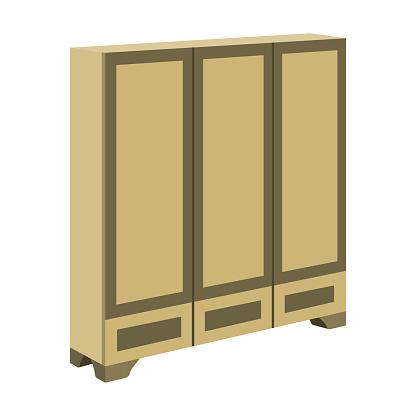 Bedroom wardrobe for clothing.Bedroom furniture for clothes.Bedroom furniture single icon in cartoon style vector symbol stock illustration.