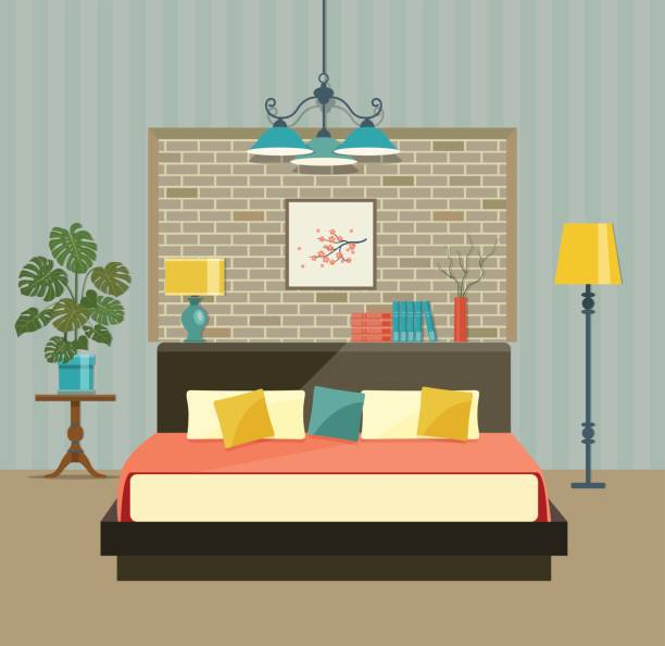 Bedroom with a bed near a brick wall. Vector flat illustration vector art illustration