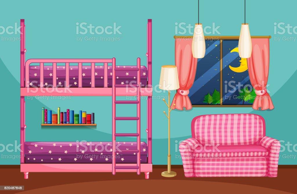 Etagenbett Sofa : Schlafzimmer mit etagenbett und rosa sofa stock vektor art