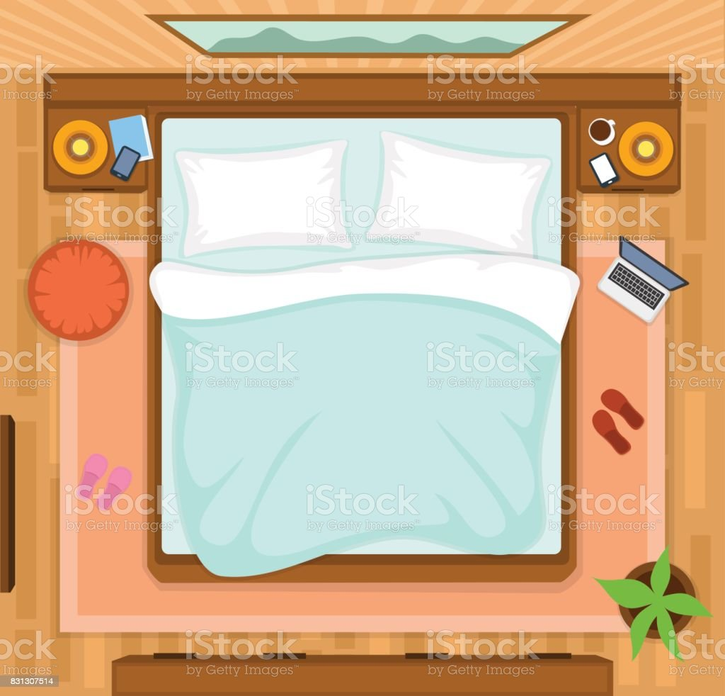 Bedroom With Empty Bed Top View Stock Vector Art More Images Of