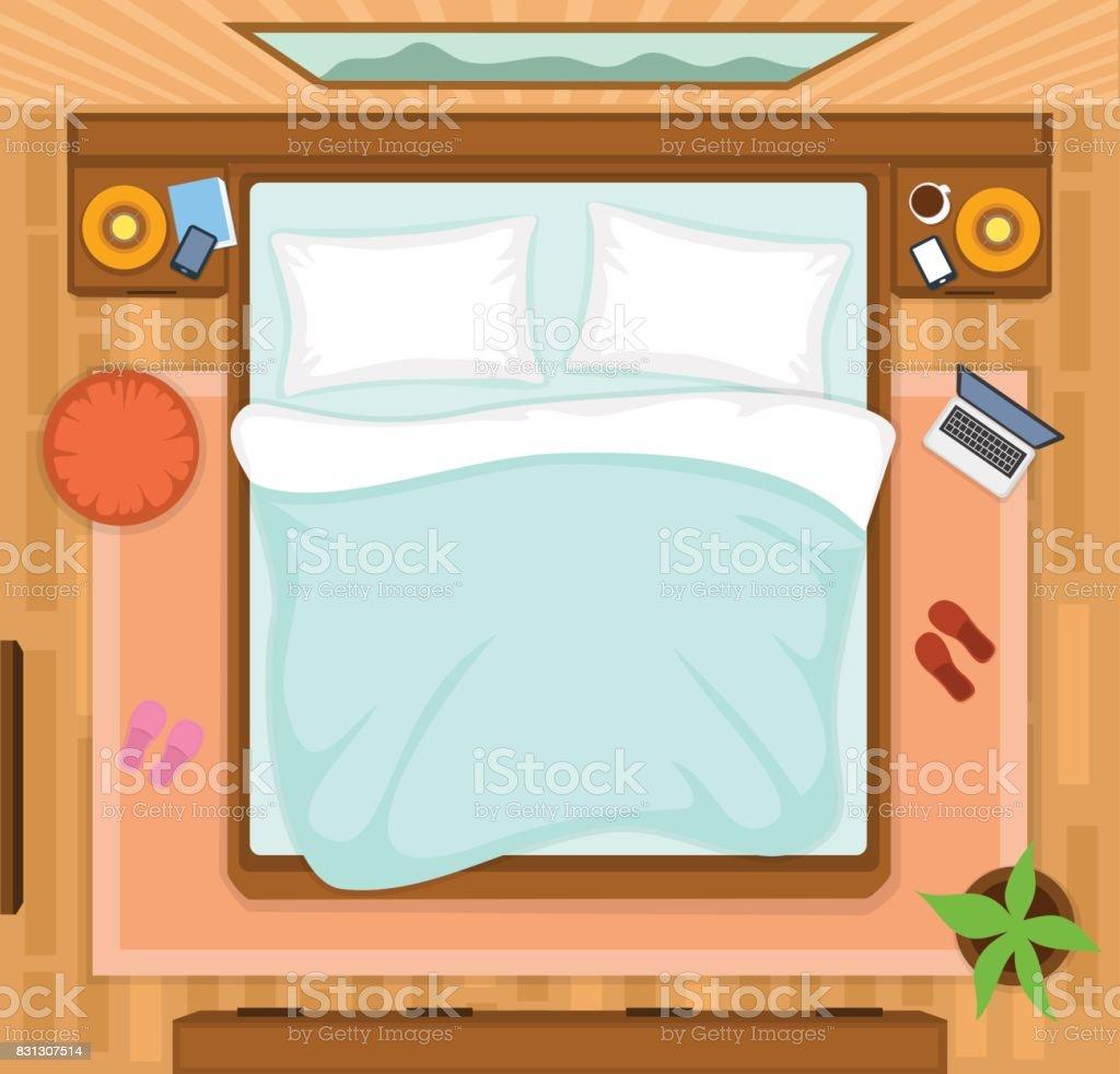 Bedroom with empty bed top view vector art illustration