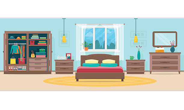Bedroom with furniture and window vector art illustration