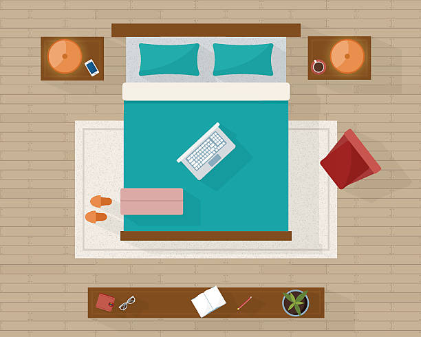 Bedroom with furniture overhead top view. vector art illustration