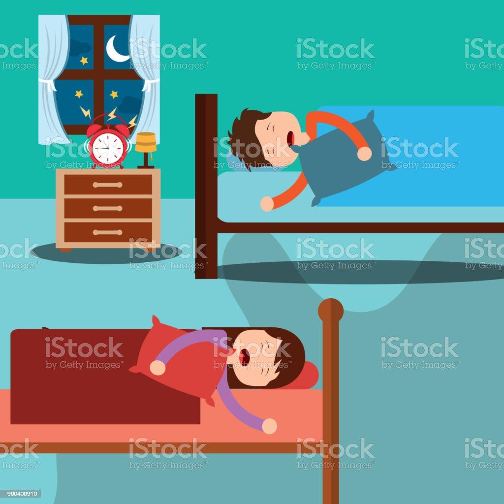 Schlafzimmer Mit Kinder Schlafen In Betten Zimmer Bett Und Uhr Stock