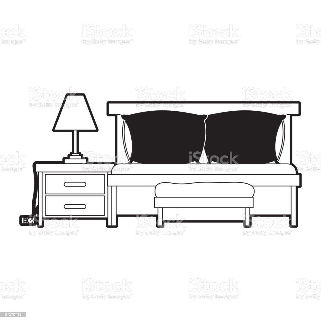 Chambre Avec Divanlit Et La Lampe Sur La Table De Chevet Couleur