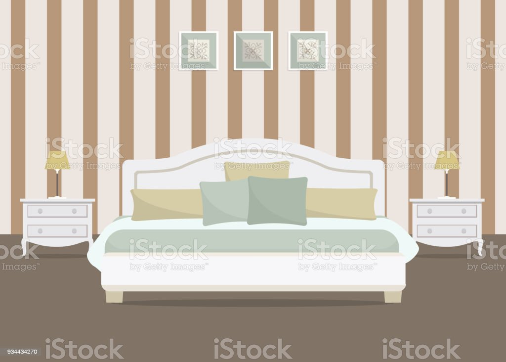 Bedroom With Striped Wallpaper Stock Illustration Download