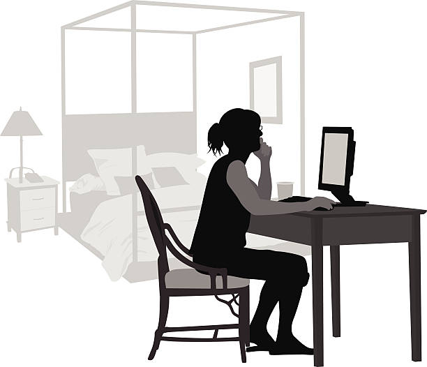 BedroomComputer A woman sits at her home office in her bedroom. bedroom silhouettes stock illustrations
