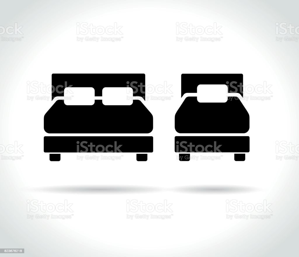 beds icons on white background vector art illustration