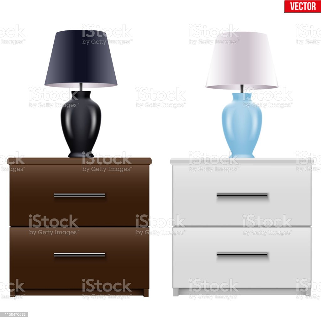 Bedside Nightstand With Night Light Stock Illustration Download Image Now Istock