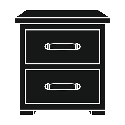 Bedside table icon in black style isolated on white background. Furniture and home interior symbol stock vector illustration.