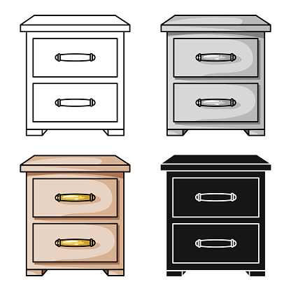 Bedside table icon in cartoon style isolated on white background. Furniture and home interior symbol stock vector illustration web