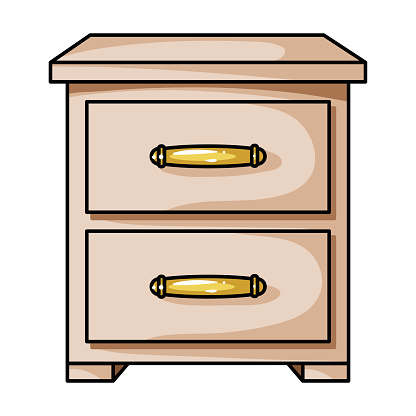 Bedside table icon in cartoon style isolated on white background. Furniture and home interior symbol stock vector illustration.