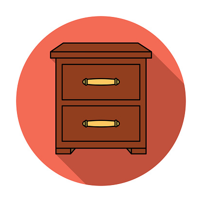 Bedside table icon in flat style isolated on white background. Furniture and home interior symbol stock vector illustration.