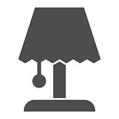 Bedside table lamp solid icon. Light fixture for living room or bedroom symbol, glyph style pictogram on white background. Household sign for mobile concept and web design. Vector graphics