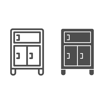 Bedside table line and solid icon, Furniture concept, nightstand sign on white background, night table icon in outline style for mobile concept and web design. Vector graphics.