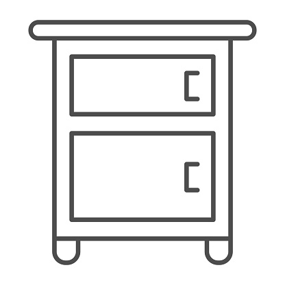 Bedside table on legs thin line icon, Furniture concept, Wooden night table sign on white background, classic nightstand with two drawers icon in outline style for mobile, web. Vector graphics.