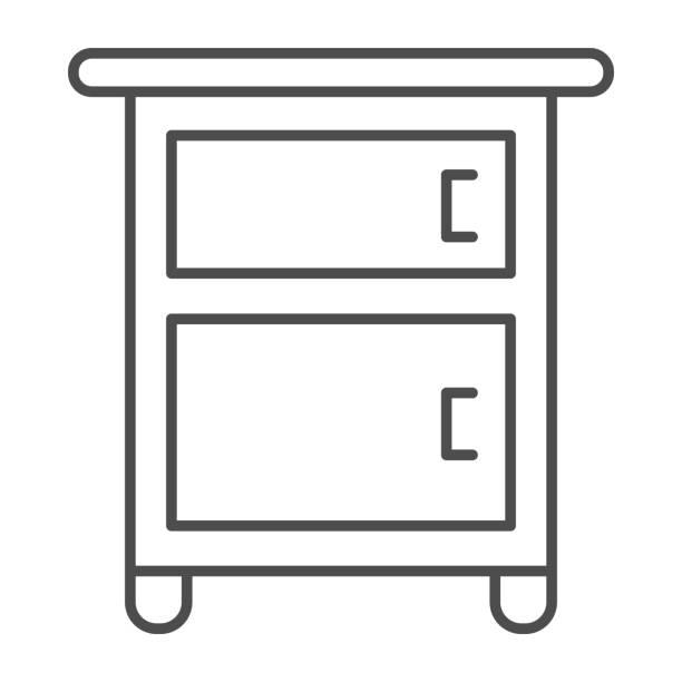 bildbanksillustrationer, clip art samt tecknat material och ikoner med sängbord på ben tunn linje ikon, möbler koncept, trä nattbord skylt på vit bakgrund, klassiskt nattduksbord med två lådor ikon i disposition stil för mobil, webb. vektorgrafik. - wood sign isolated