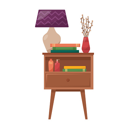 Bedside table with lamp, books, vase with dried flowers, cream for hand and face, vector illustration