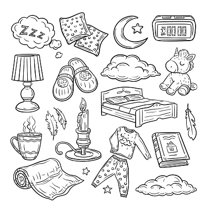 Bedtime doodle. Relax sleep, comfortable pillow feathers dream zzz night dreaming. Sleeping time hand drawn vector set