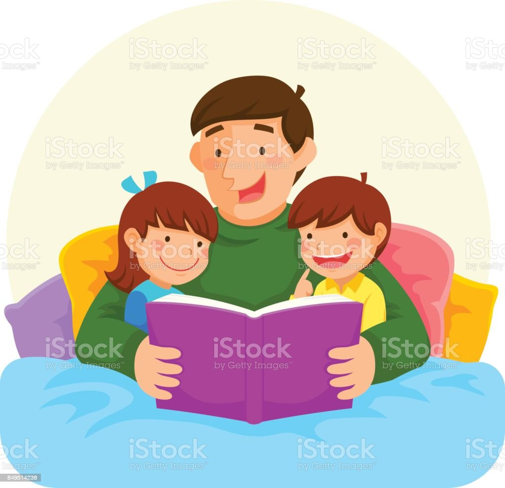bedtime story with dad vector art illustration