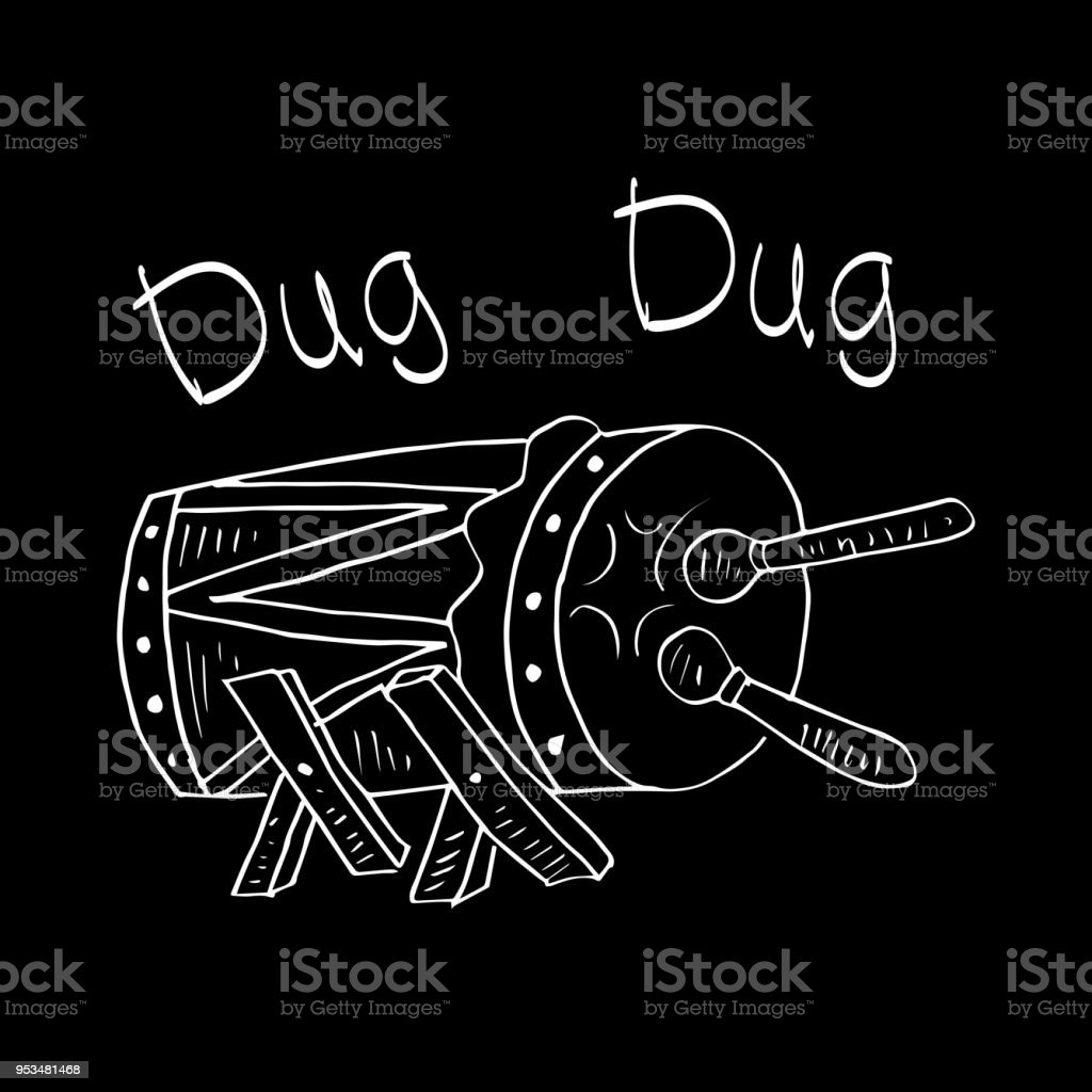 Bedug, (indonesia traditional drum). Sketchy style. vector art illustration