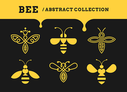 Bee abstract collections - logo, icon on a dark background
