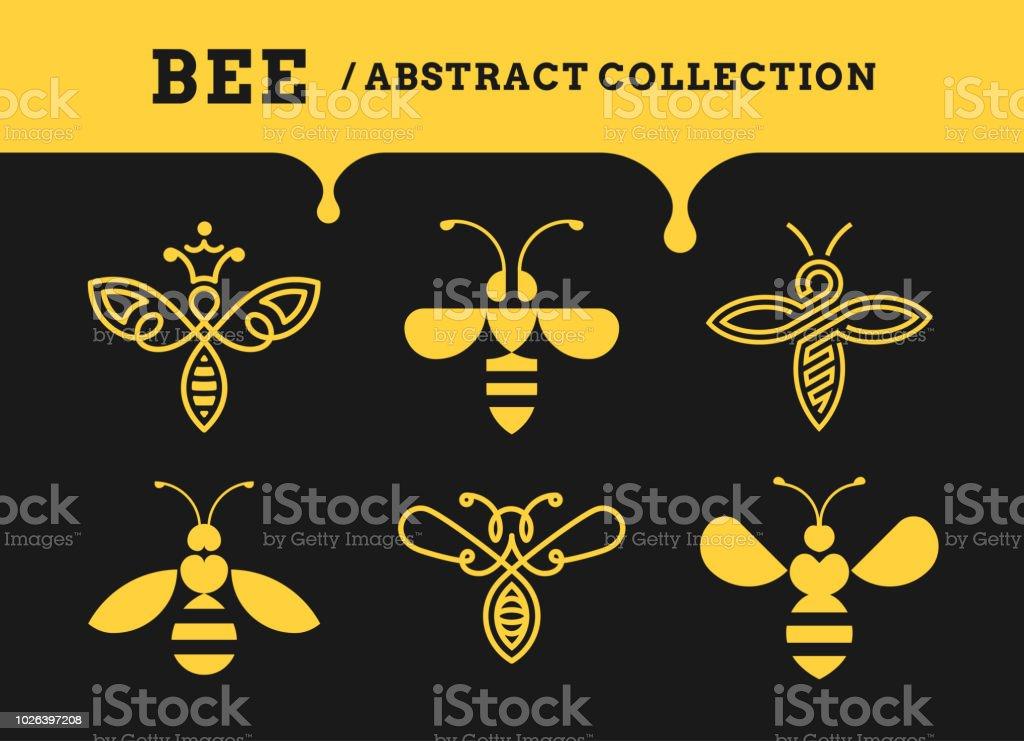 Collections de résumé de Bee - logo, icône sur fond sombre - Illustration vectorielle