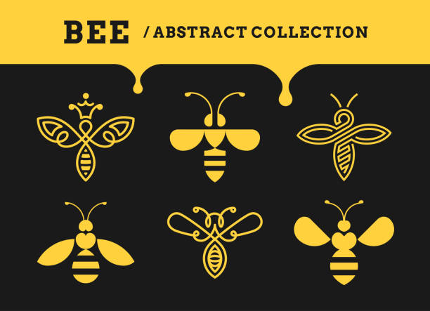 bee abstract collections - logo, icon on a dark background - honey drip stock illustrations, clip art, cartoons, & icons