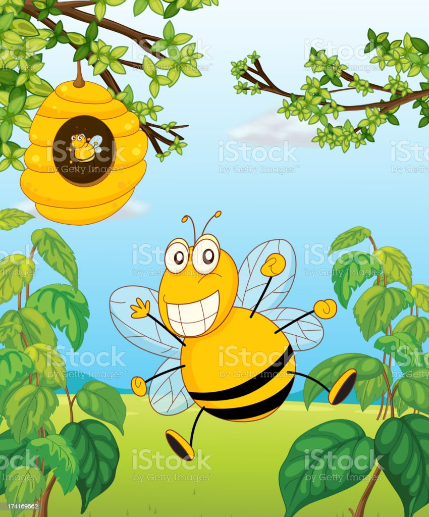 bee and a beehive royalty-free stock vector art