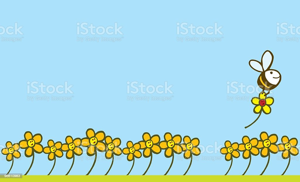 Bee and Flower - Royalty-free Aan het werk vectorkunst