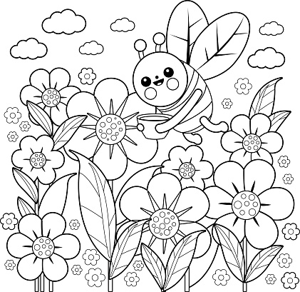 Bee and flowers. Coloring book page