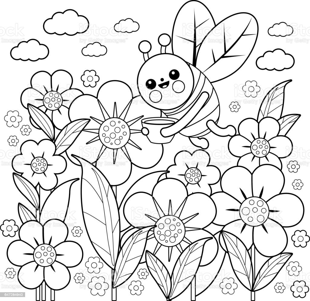 Bee and flowers. Coloring book page vector art illustration