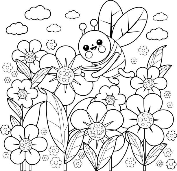 벌과 꽃 색칠도 서 페이지 - 색칠하기 stock illustrations
