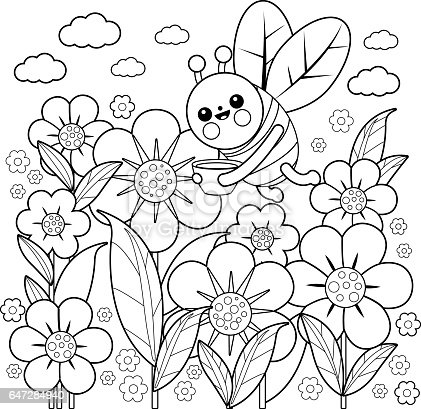 Bee And Flowers Coloring Book Page Stock Vector Art Amp More